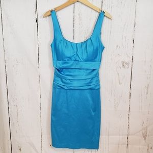 B Darlin 9/10 turquoise blue dress with ruching